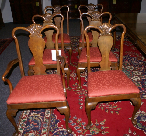 Incredible Set Of Six Mint Clean Signed Berkey And Gay Queen Anne Dining Room Chairs