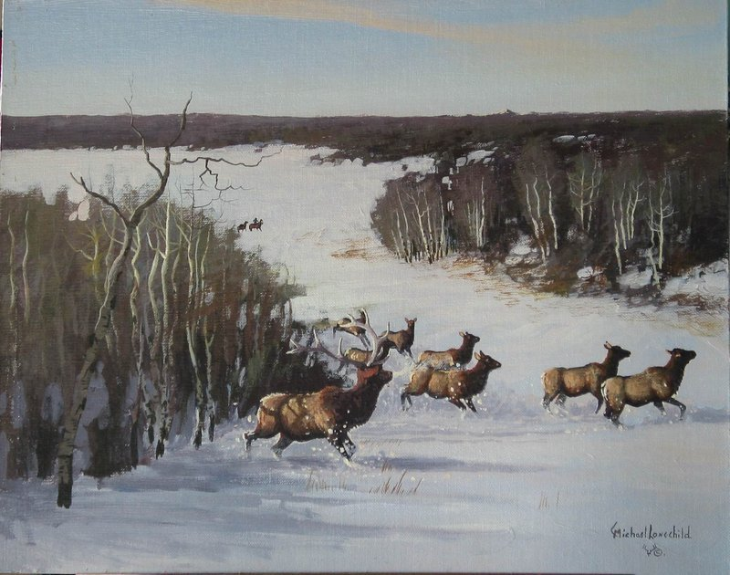 Michael Lonechild The Elk Herd Crossing For Sale