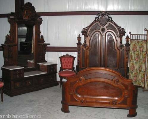 Glamorous American Antique Victorian Bedroom Suite For