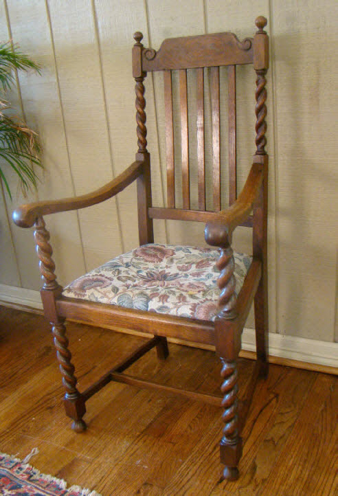 Antique English Carved Oak Barley Twist Arm Chair A For