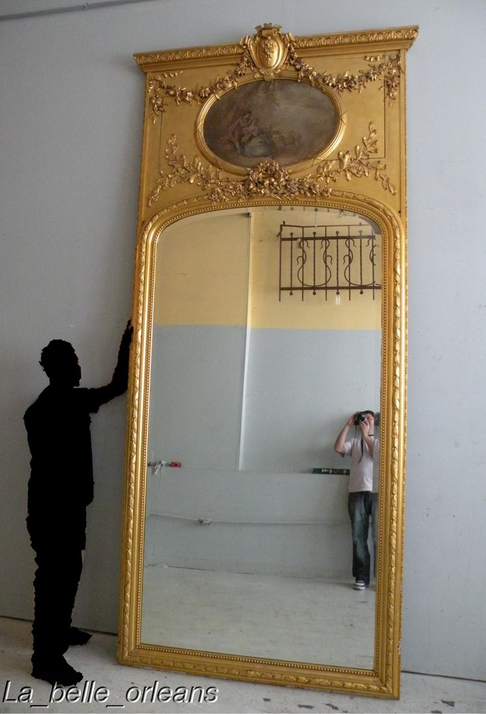 Best 19thc French Palatial Giltwood Trumeau Mirror For