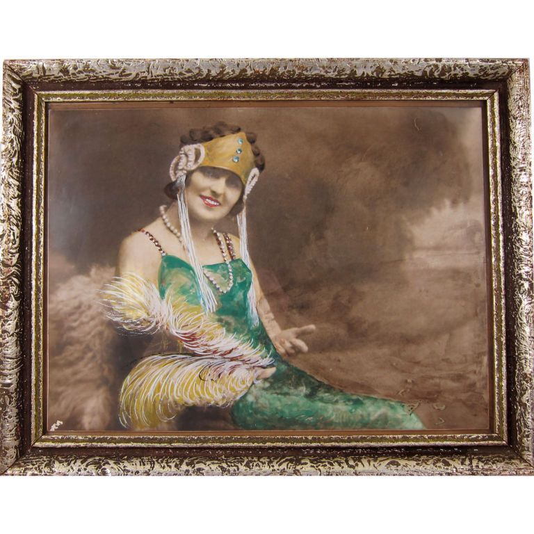 Vintage 1930 S Art Deco Woman Hand Painted Photograph With
