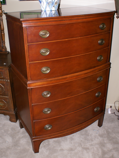 Nice Red Mahogany Bow Front High Chest For