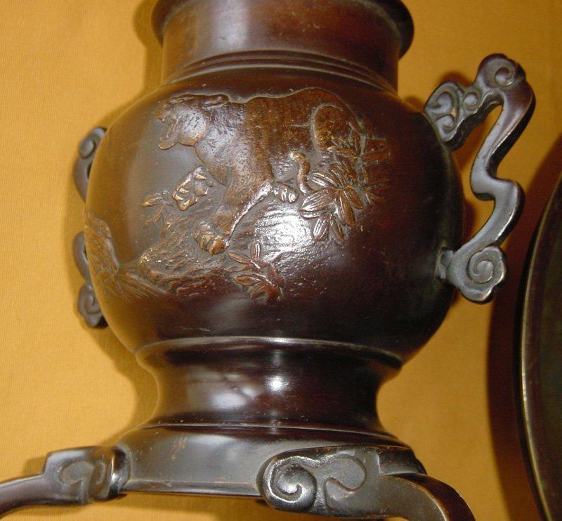 Japanese Bronze Usubata Tea Ceremony Flower Vase C 1890