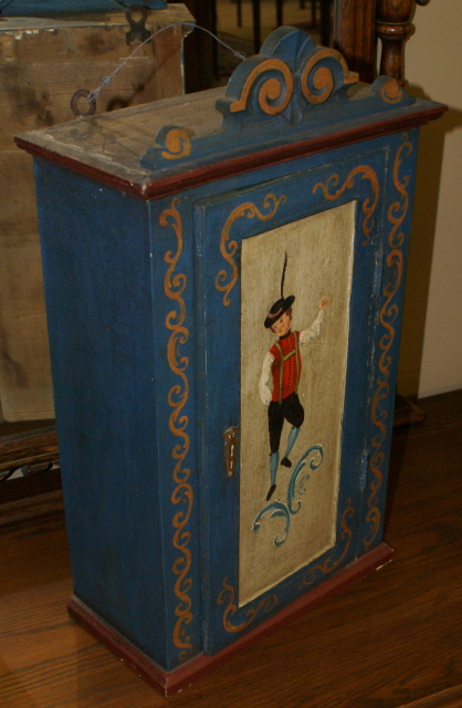 Another antique German hand painted wall cabinet circa 1900 - For Sale - Another Antique German Hand Painted Wall Cabinet Circa 1900 For Sale