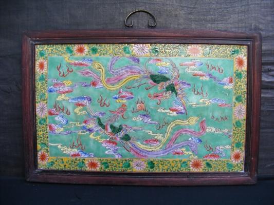 3 nyonya painting phoenix peonies ceramic wall art for for Ceramic mural paintings