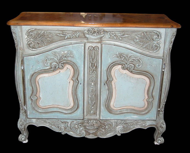 Beautiful French Hand Carved & Painted Buffet For Sale | Antiques.com  XP92