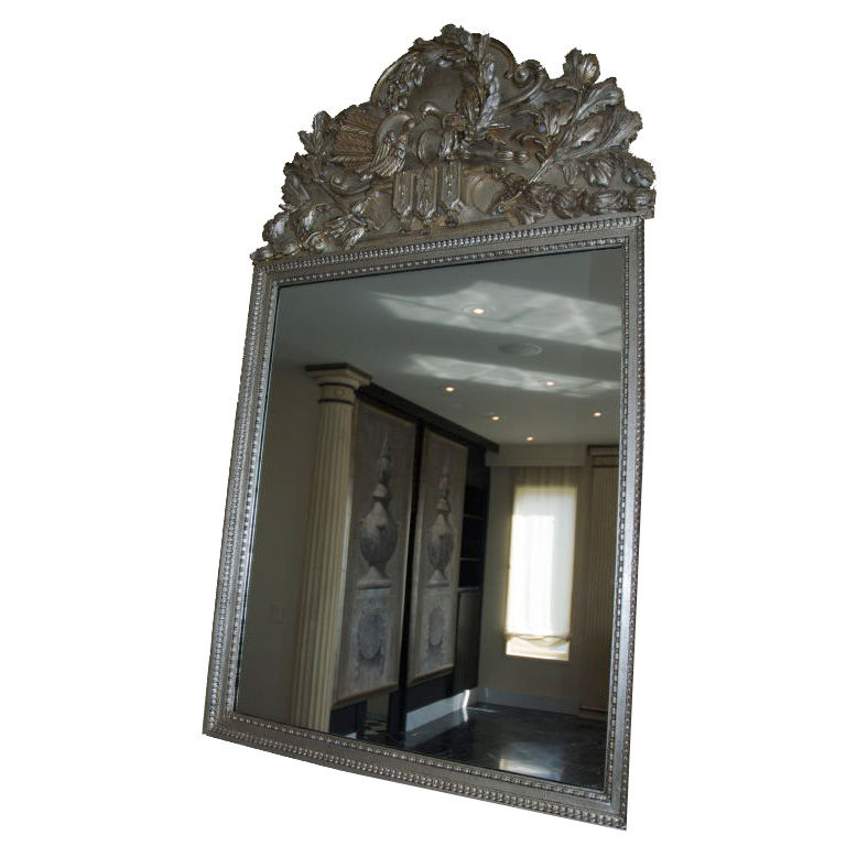 Ornate silver leaf mirror for sale for Silver mirrors for sale