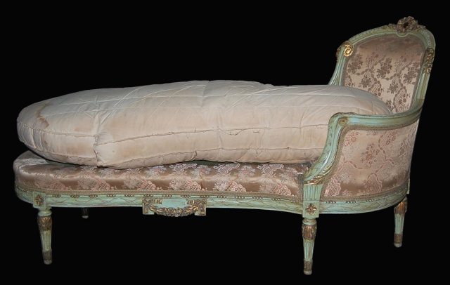 Decorative french painted chaise lounge for sale for Antique chaise for sale