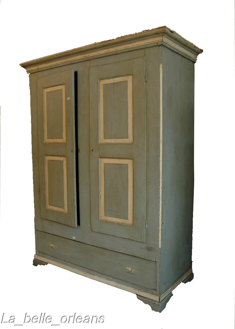 charming painted american primitive two door armoire for. Black Bedroom Furniture Sets. Home Design Ideas