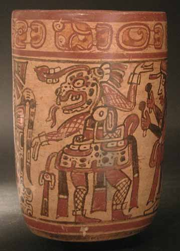 Copador Style Mayan Polychrome Cylinder Vase Pf2493 For Sale