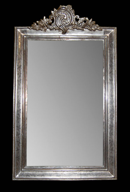 Antique french silver leaf mirror for sale for Silver framed mirrors on sale