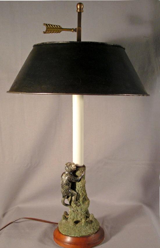 portuguese majolica palissyware candlestick monkey lamp. Black Bedroom Furniture Sets. Home Design Ideas
