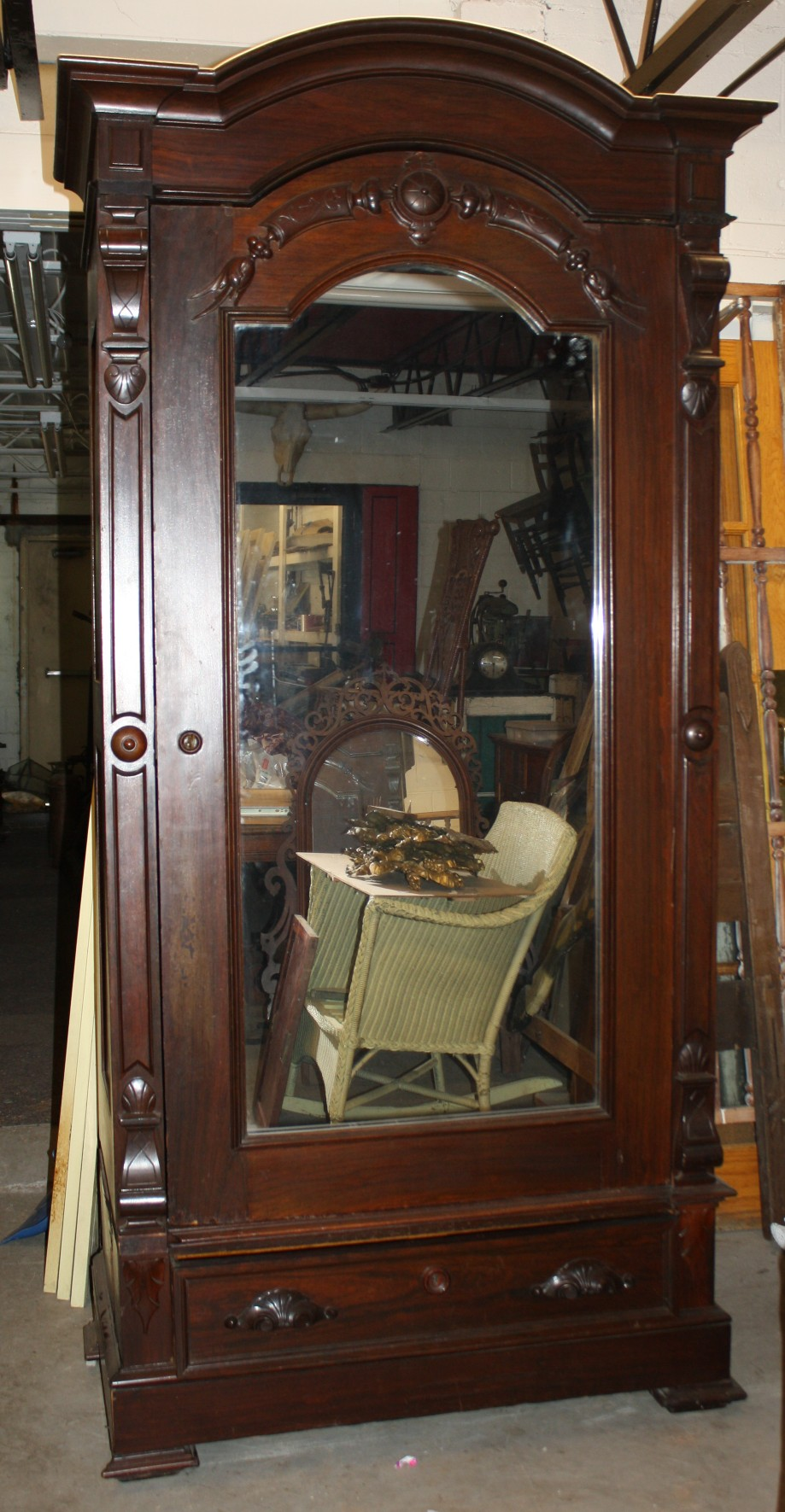 victorian mirrored arch top wardrobe for sale antiques. Black Bedroom Furniture Sets. Home Design Ideas