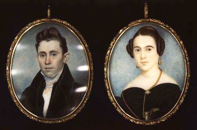 Superb Pair Of 19th C New England Portrait Miniatures Artists Moses