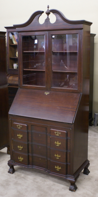 Mahogany Chippendale block front secretary desk For Sale : Antiques.com : Classifieds