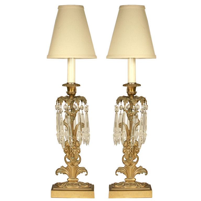 pair of brass crystal neptune lamps for sale. Black Bedroom Furniture Sets. Home Design Ideas