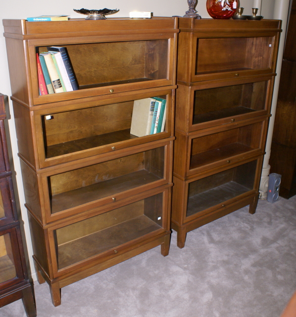 Nice Matched Pair Of Walnut 4 Stack Lawyer Or Barrister Bookcases