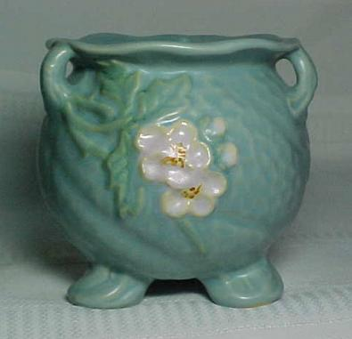 Weller Pottery Delsa Blue Vase 3 Handles Very Nice For Sale
