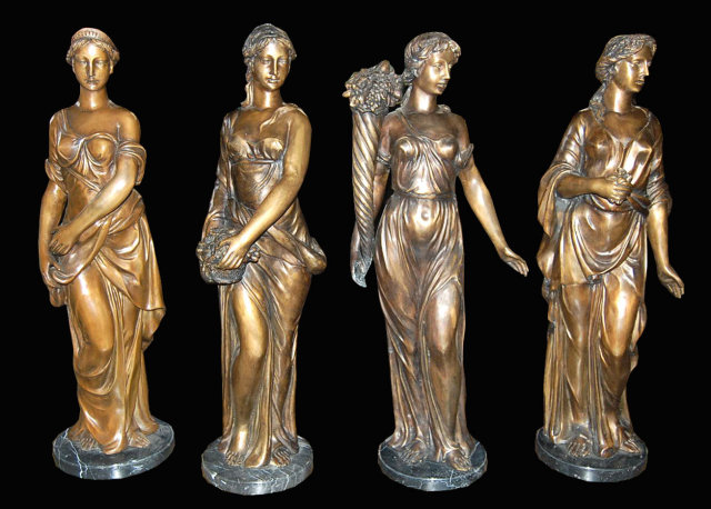 Set of 4 patinated bronze statues for sale - Bronze sculptures for sale ...