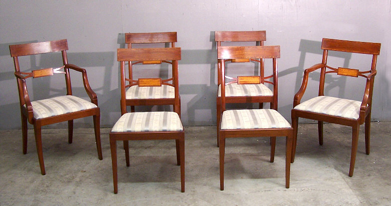 Set Of Six Harold Margolis American Federal Style Mahogany Dining Chairs.  The Two Arm Chairs Each Measure 20 Inches Wide, 35 And One Half Inches  High, ...