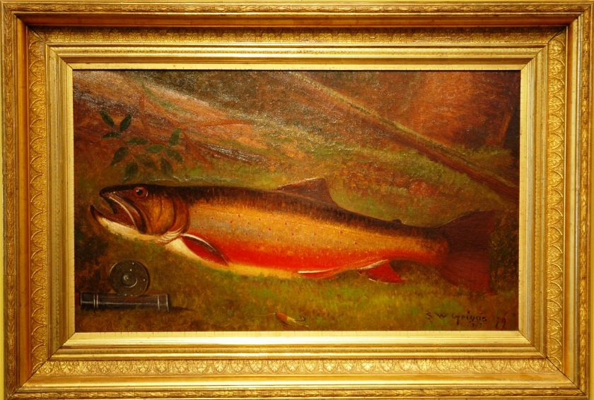 Rare large 19th american rainbow trout oil painting for Large artwork for sale