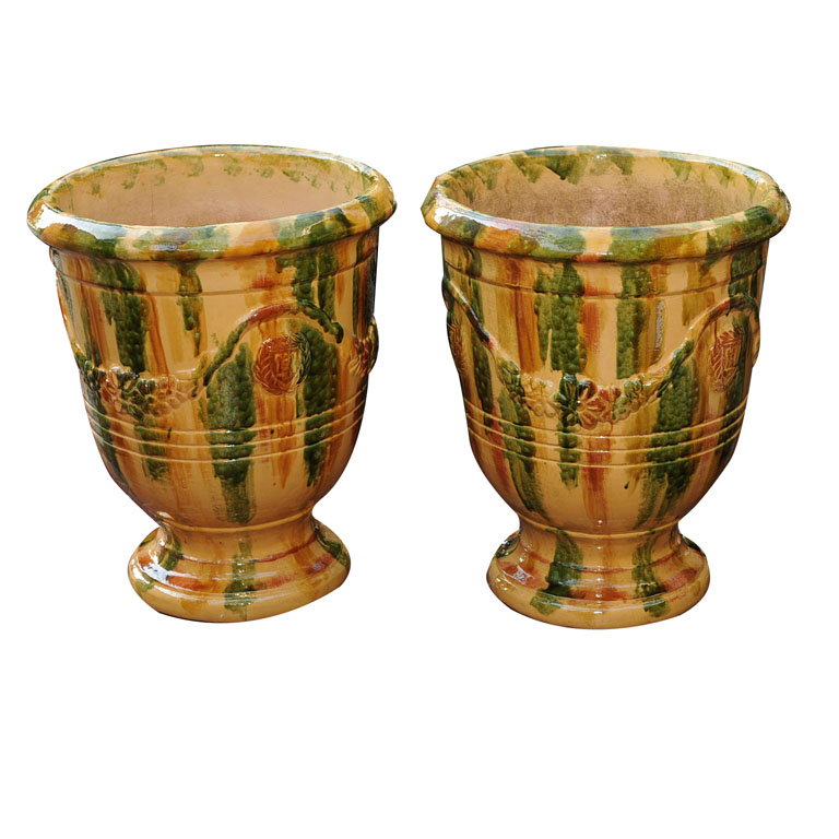 a pair of large glazed terracotta pots for sale antiques