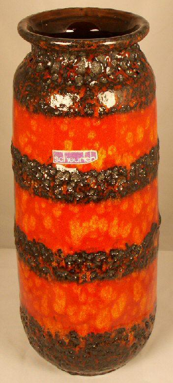 West German Scheurich Orange Lava Vase For Sale Antiques