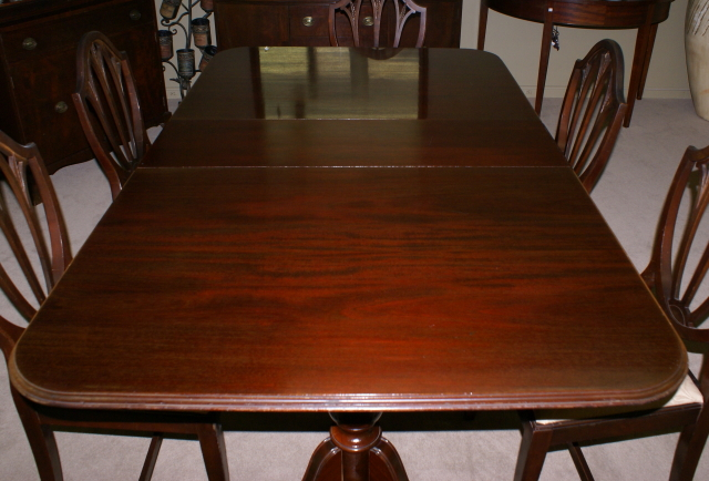 Pictured Above Is A Mahogany Duncan Phyfe Double Pedestal Dining Room Table W