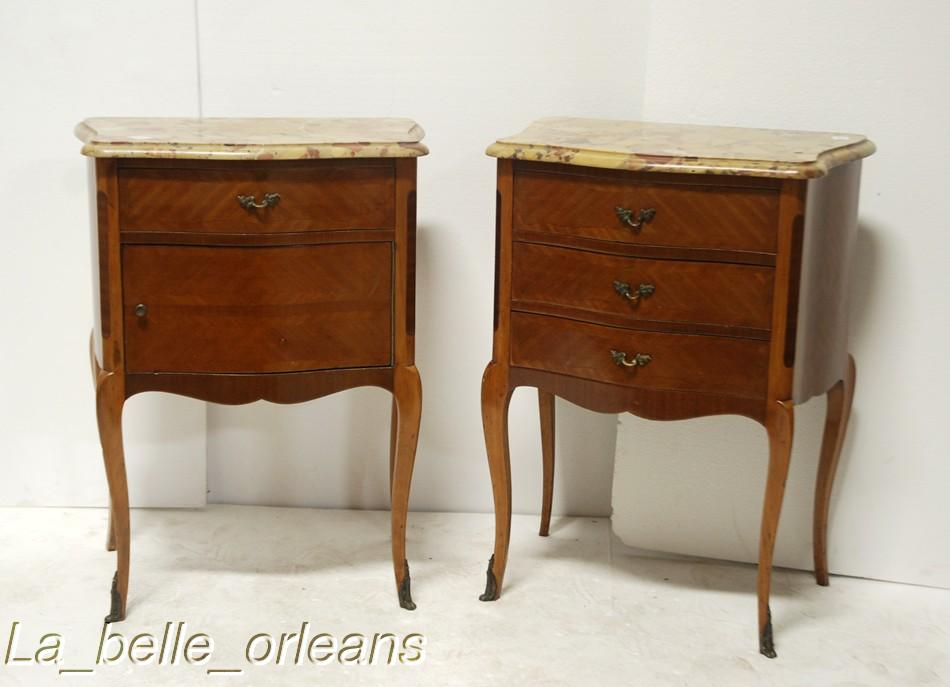 FINE PAIR OF LOUIS XV END TABLES WITH MARBLE TOP LK For Sale