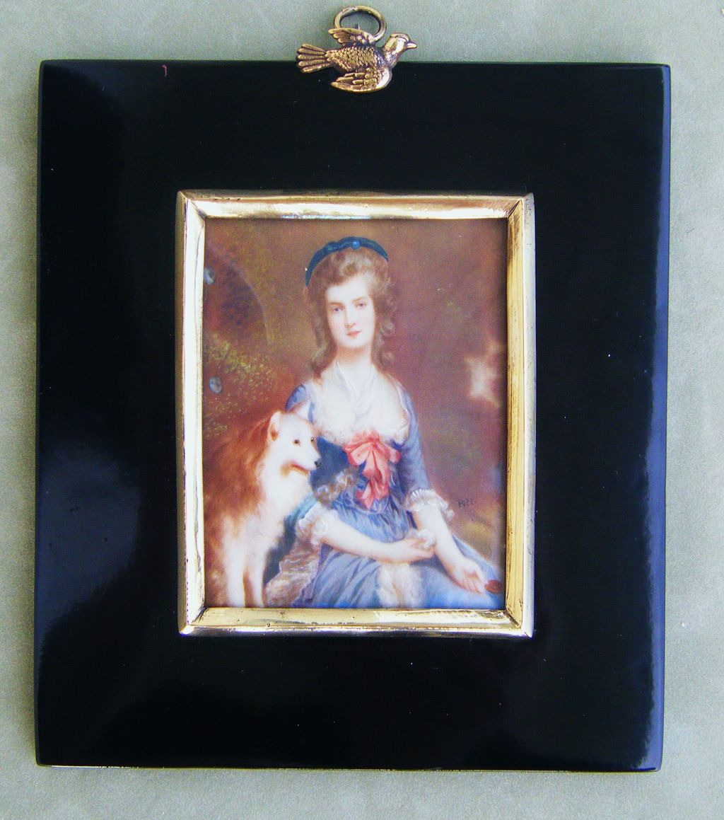 sale antique miniature painting on ivory of a lady with