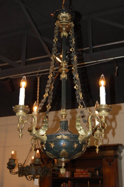 This fabulous French Empire chandelier is one-of-a-kind! It is made from  bronze with a very nice, cold painted black finish. Many of the details  have been ... - Fabulous French Empire Chandelier For Sale Antiques.com Classifieds