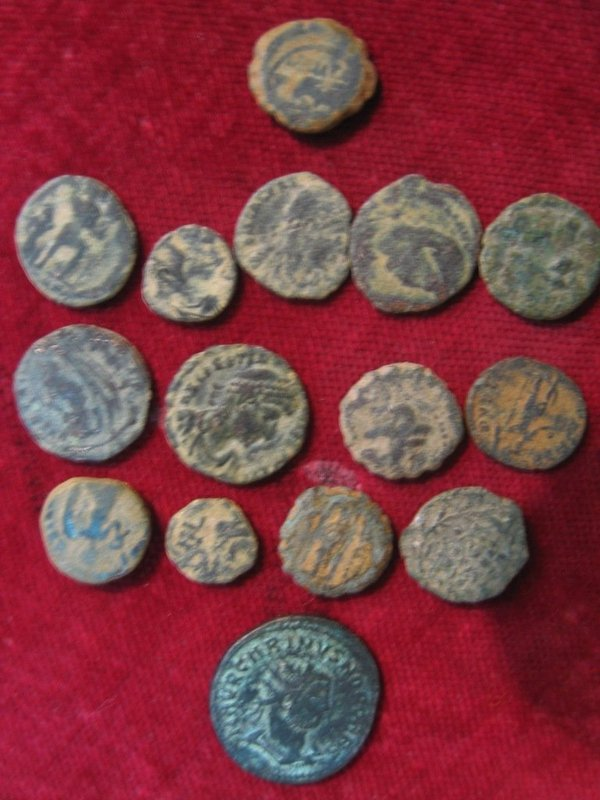 Lot of 15 Ancient Uncleaned, Unsorted Holy Land Coins For