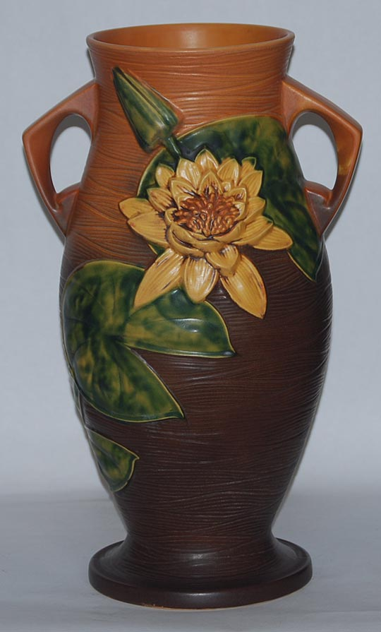 Roseville Pottery Water Lily Brown Vase For Sale Antiques