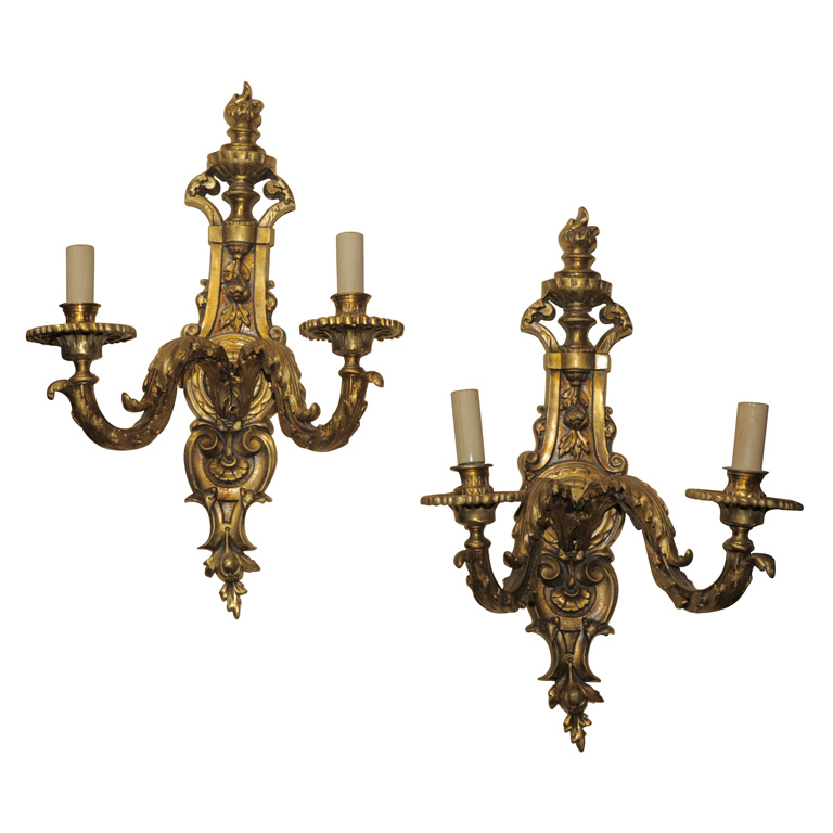 PAIR OF BAROQUE STYLE GILT BRONZE SCONCES For Sale | Antiques.com