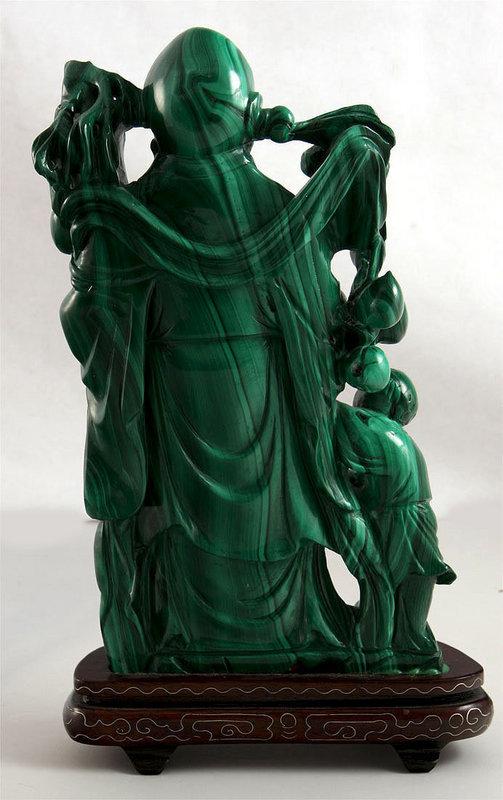 chinese sage malachite carving for sale