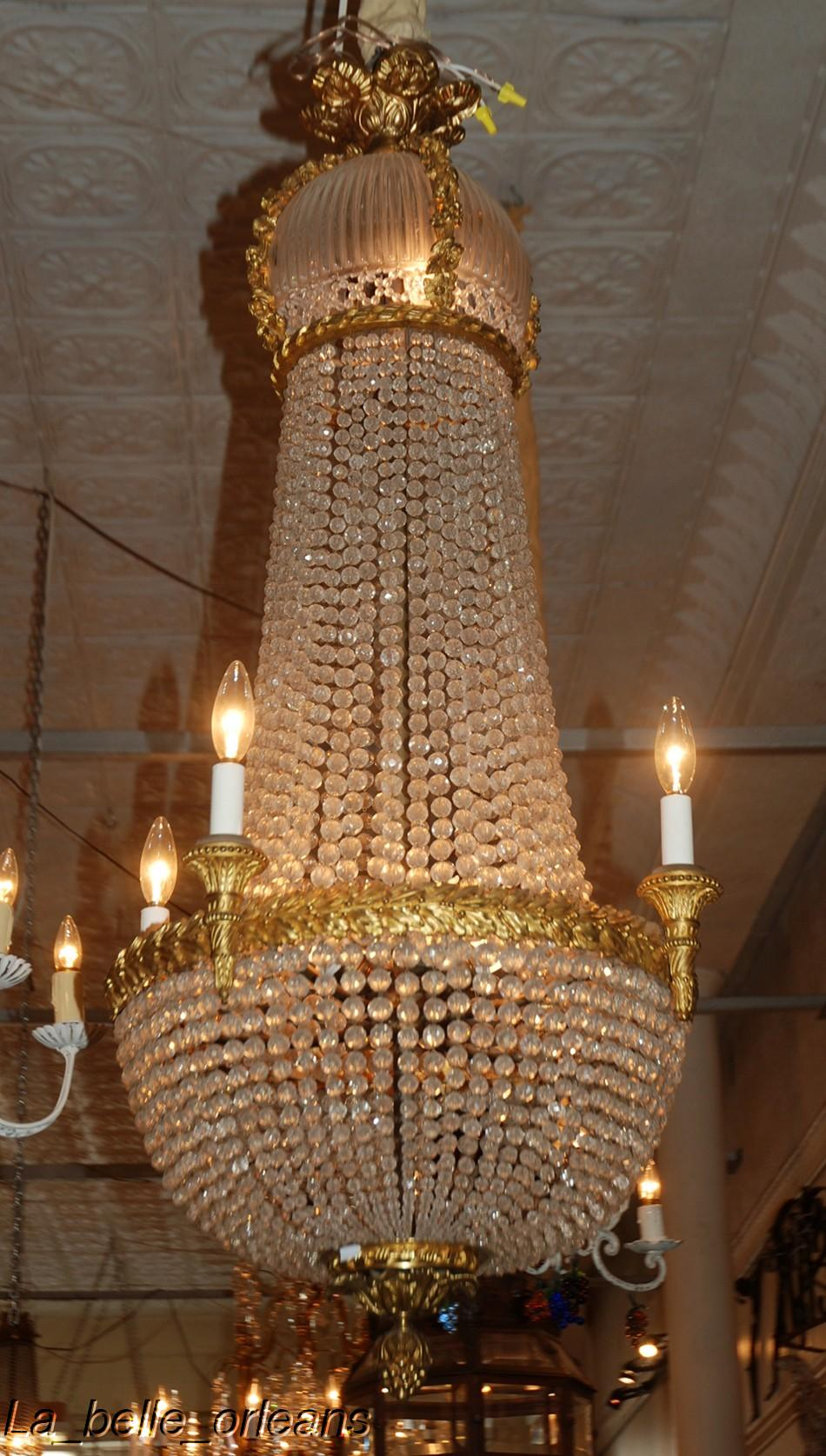 19TH C FRENCH EMPIRE BRONZE AND BACCARAT CHANDELIER For
