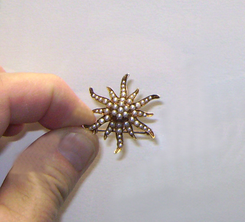 Natural seed pearl 14k gold starburst pendant pin c1900 for Natural seeds for jewelry making