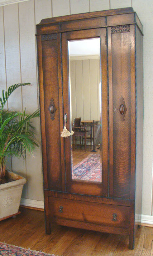 Antique English Wardrobe Armoire Mirror Handsome Oak For