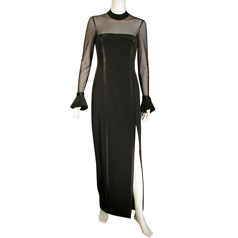 1970&39s Oleg Cassini BlackTie long sleek black evening dress For ...