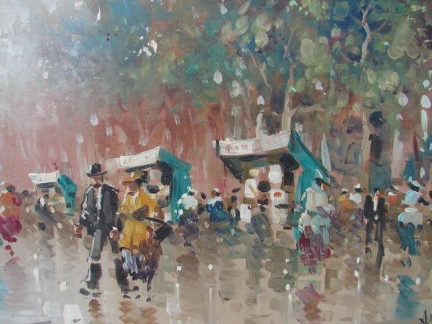 20th Century A Devit Paris Street Scene Painting For Sale