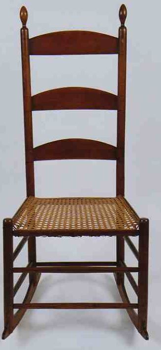 Antique cane rocking chair - Rare 19th C American Shaker Enfield New Hampshire Sewing Rocker Circa