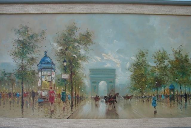 20th Century A Devitt Paris Street Scene Painting For