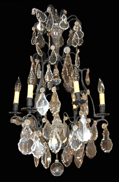 A dainty French painted brass and crystal chandelier. Original cut crystal  prisms and finials. Electrified, great antique condition. - French Crystal Chandelier For Sale Antiques.com Classifieds