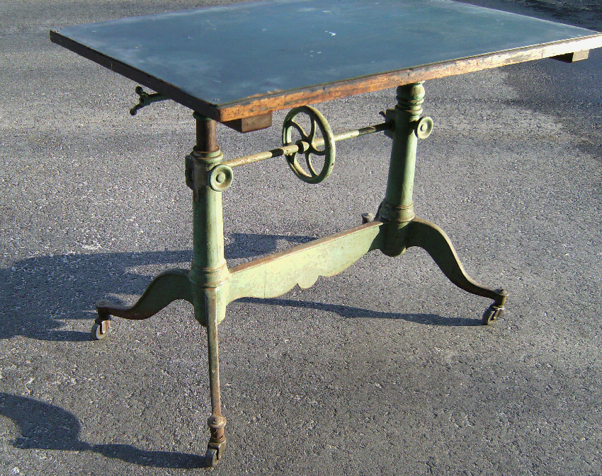 19th Century French Drafting Table With Original Paint C1880 Item