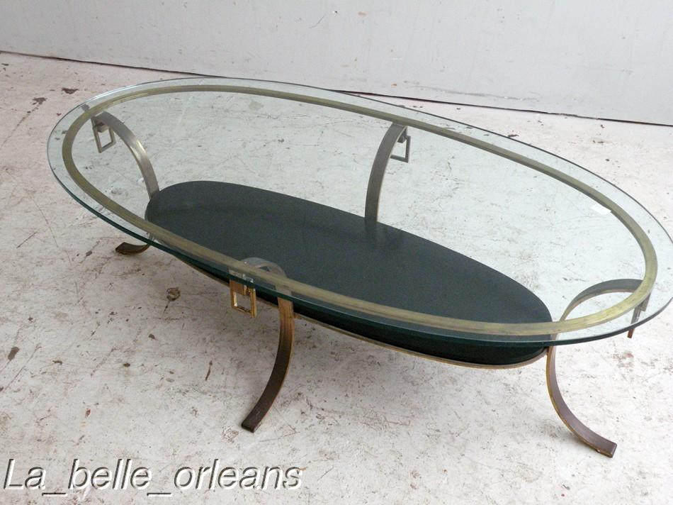 BEST JANSEN BRASS AND LACQUER OVAL COFFEE TABLE Lk For Sale