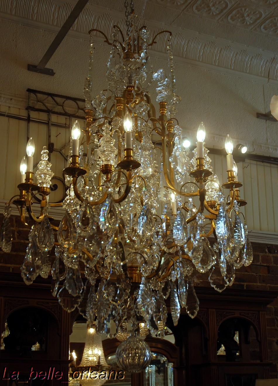 MONUMENTAL PAIR FRENCH CRYSTAL & BRONZE CHANDELIERS - For Sale - MONUMENTAL PAIR FRENCH CRYSTAL & BRONZE CHANDELIERS For Sale