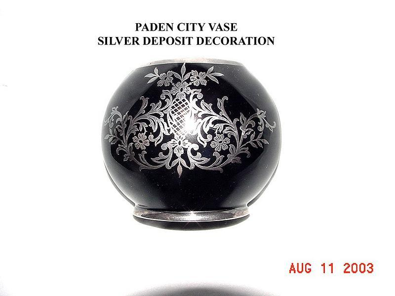 Paden City Silver Deposit Black Amethyst Vase For Sale Antiques