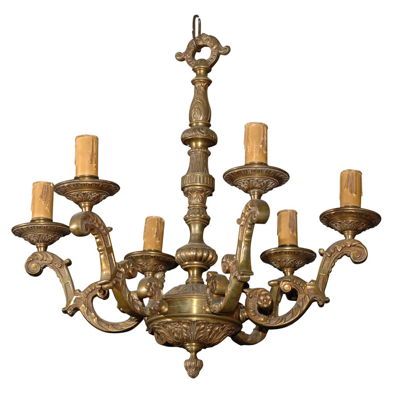SIX ARM BRONZE CHANDELIER For Sale