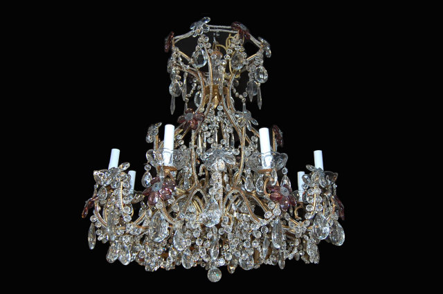 Vintage French Beaded Crystal Chandelier For Sale